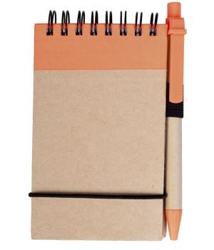 Блокнот на кольцах Eco Note с ручкой, оранжевый