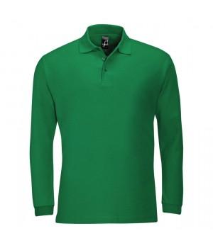 Рубашка поло мужская с длинным рукавом WINTER II 210 ярко-зеленая