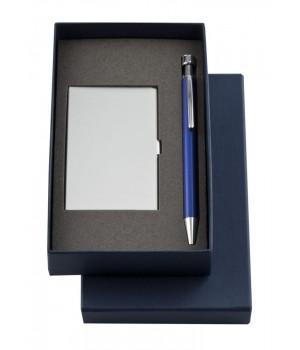 Набор Join: футляр для визиток и шариковая ручка, синий