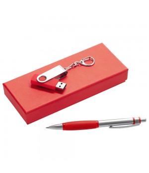Набор Notes: ручка и флешка 16 Гб, красный