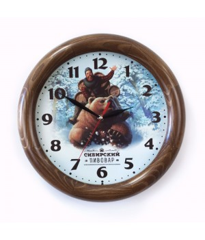 Часы настенные с деревянным ободом, орех
