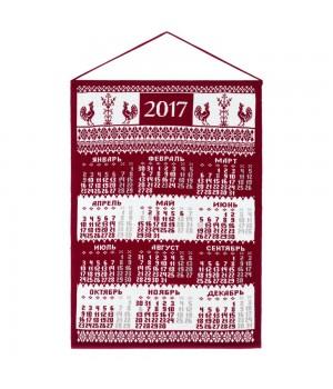 Календарь вязаный «Петухи», бордо