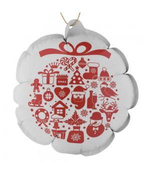 Новогодний самонадувающийся шарик, белый с красным рисунком
