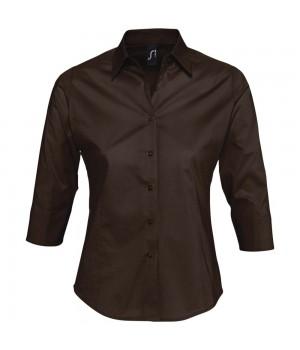 Рубашка женская с рукавом 3/4 EFFECT 140, темно-коричневая