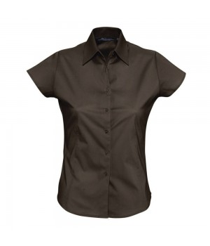 Рубашка женская с коротким рукавом EXCESS, темно-коричневая