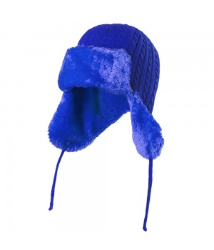 Шапка-ушанка Russian style, ярко-синяя