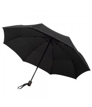 Складной зонт Wood Classic с прямой ручкой и серой окантовкой, черный